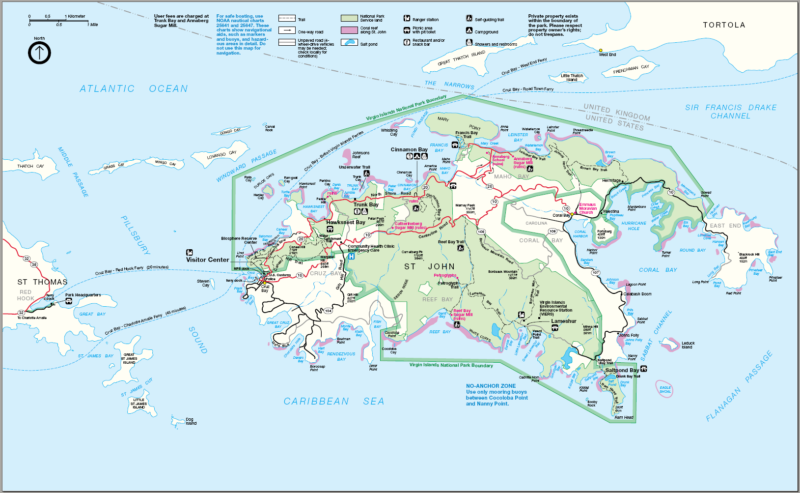 Virgin Islands National Park Map